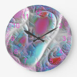 Abstract Blue & White Quilt - Magenta Aqua Delight Round Wall Clock