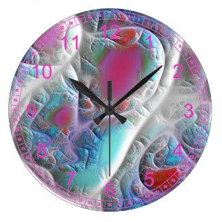 Abstract Blue & White Quilt - Magenta Aqua Delight Large Clock