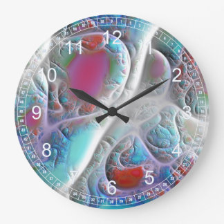 Abstract Blue & White Quilt - Pink & Cyan Fractal Large Clock