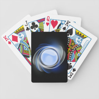 Abstract Blue White Rose With Orb Playing Cards