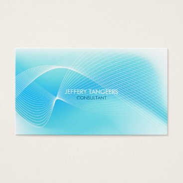 Professional Business Abstract Blue White Wave Business Card