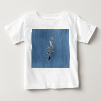 Abstract blue wood grain music clef note baby T-Shirt