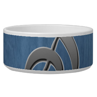 Abstract blue wood grain music clef note bowl