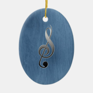 Abstract blue wood grain music clef note ceramic ornament