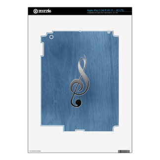 Abstract blue wood grain music clef note iPad 3 decals