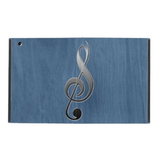 Abstract blue wood grain music clef note iPad cases