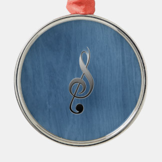 Abstract blue wood grain music clef note metal ornament