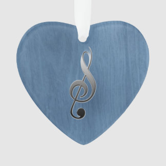 Abstract blue wood grain music clef note ornament