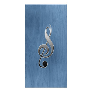 Abstract blue wood grain music clef note photo card