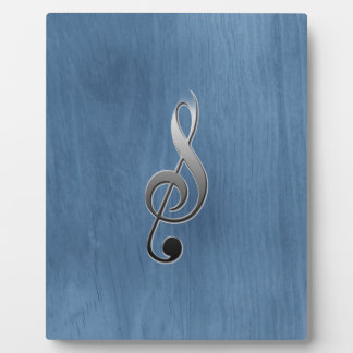 Abstract blue wood grain music clef note plaque