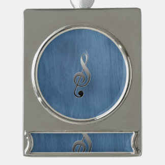 Abstract blue wood grain music clef note silver plated banner ornament