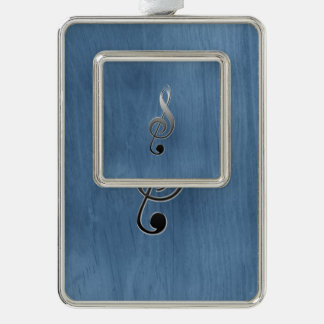 Abstract blue wood grain music clef note silver plated framed ornament
