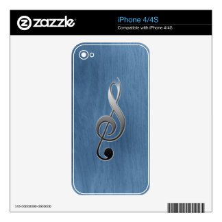 Abstract blue wood grain music clef note skins for iPhone 4