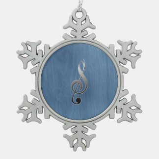 Abstract blue wood grain music clef note snowflake pewter christmas ornament