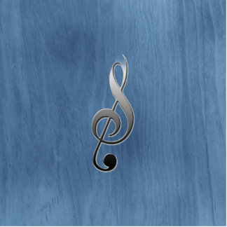 Abstract blue wood grain music clef note statuette