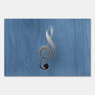 Abstract blue wood grain music clef note yard sign