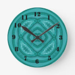 Abstract Blue Wood Pattern Round Wall Clock
