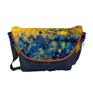 Abstract Blue Yellow Red Paint Splatter Texture Messenger Bag