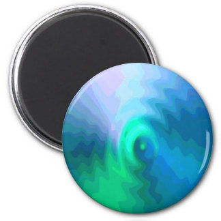 Abstract BlueGreen 002 Round Magnet
