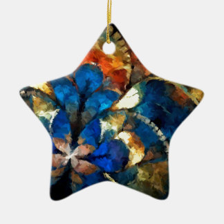 abstract blues and gold ceramic ornament