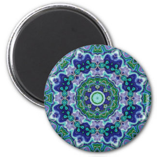 Abstract Blues and Greens Kaleidoscope Magnet