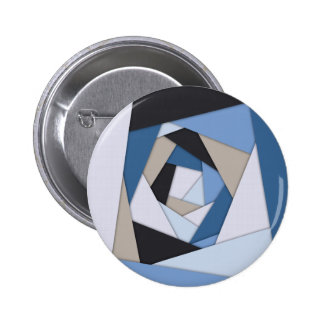 Abstract Blues Geometric Layers Button