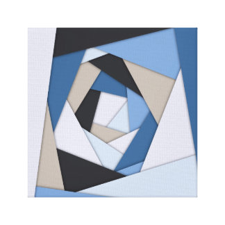 Abstract Blues Geometric Layers Canvas Print