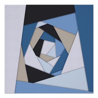 Abstract Blues Geometric Layers Poster