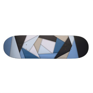 Abstract Blues Geometric Layers Skateboard
