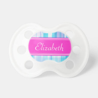 Abstract Blues with Razzle Dazzle Rose Name Stripe Pacifier