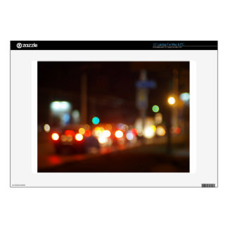 Abstract blur image of a night scene with bright l decals for laptops