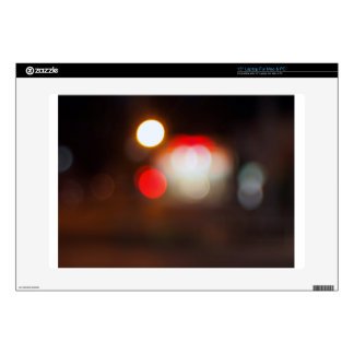 Abstract blurred image of circular lights on the n laptop decals