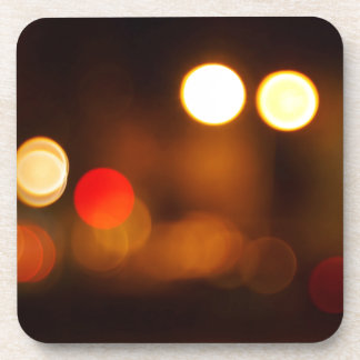 Abstract blurred image of round spots beverage coaster