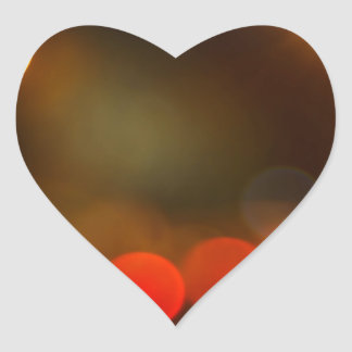 Abstract blurred night scene on city road heart sticker