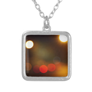 Abstract blurred night scene on city road square pendant necklace