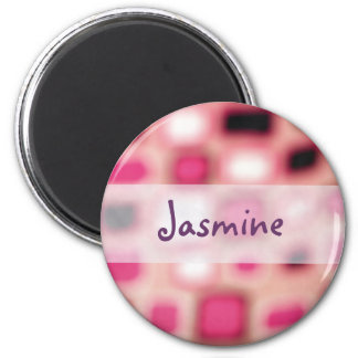 Abstract Blurry Pink Square Cubes Art 2 Inch Round Magnet