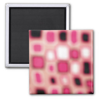 Abstract Blurry Pink Square Cubes Art 2 Inch Square Magnet