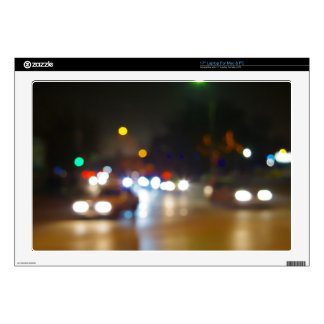 "Abstract blurry spots of light in the night city decals for 17"" laptops"