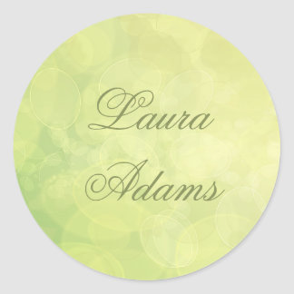 Abstract bokeh green lime texture. Name. Classic Round Sticker