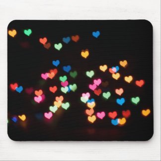 Abstract Bokeh shapes lovely love hearts Mouse Pad