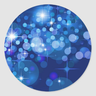 Abstract Bokeh Stars Background ROYAL BLUE CIRCLES Classic Round Sticker