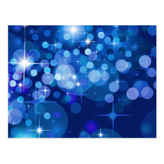 Abstract Bokeh Stars Background ROYAL BLUE CIRCLES Postcard
