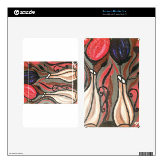ABSTRACT BOLD TULIPS KINDLE FIRE SKINS