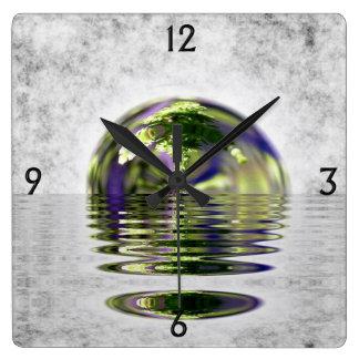 Abstract Bonsai Globe Square Wall Clock