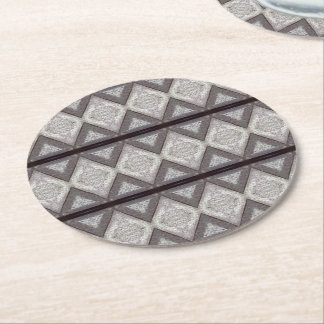 Abstract boring pattern round paper coaster