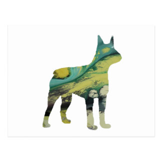Abstract Boston Terrier Silhouette Postcard