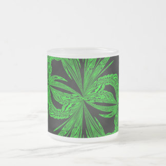 Abstract Botanical Neon Frosted Glass Coffee Mug