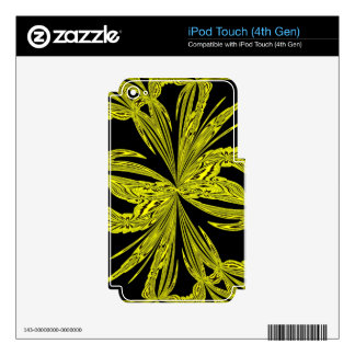 Abstract Botanical Yellow Decals For iPod Touch 4G