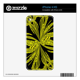 Abstract Botanical Yellow Skin For iPhone 4