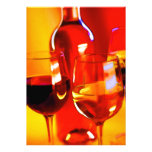 Abstract Bottle of Wine and Glasses Personalized Invitations